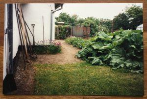 Mormor og morfar havde en hvidkalket væg, hvor alle haveredskaberne stod sirligt og ventede.